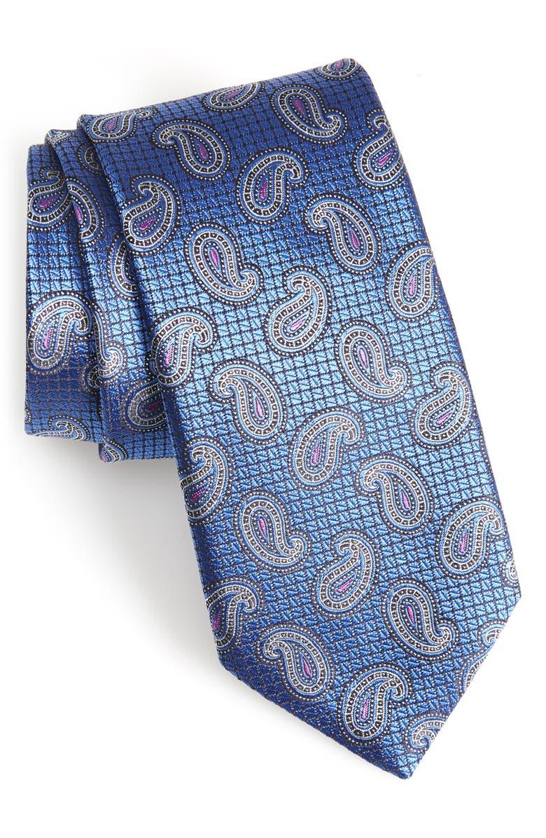 CANALI Paisley Silk X-Long Tie, Main, color, 400