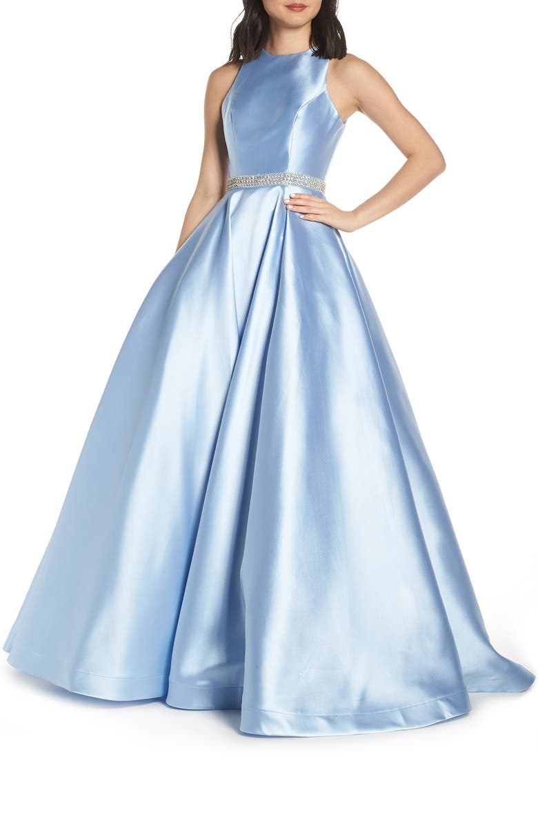 MAC DUGGAL Jeweled Waist Satin Twill Evening Dress, Main, color, POWDER BLUE