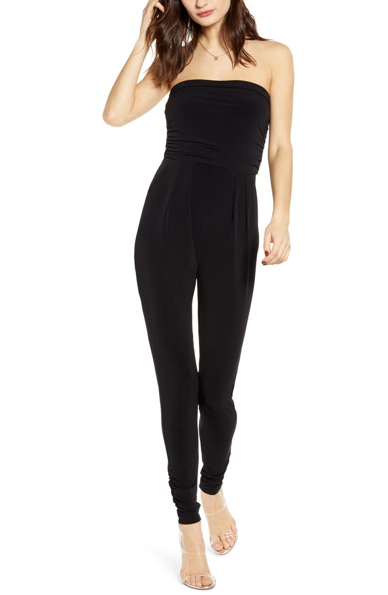 LEITH Strapless Ruched Jumpsuit, Main, color, BLACK
