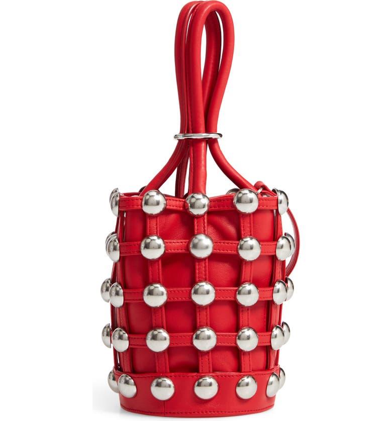 ALEXANDER WANG Mini Roxy Studded Cage Leather Bucket Bag, Main, color, 600