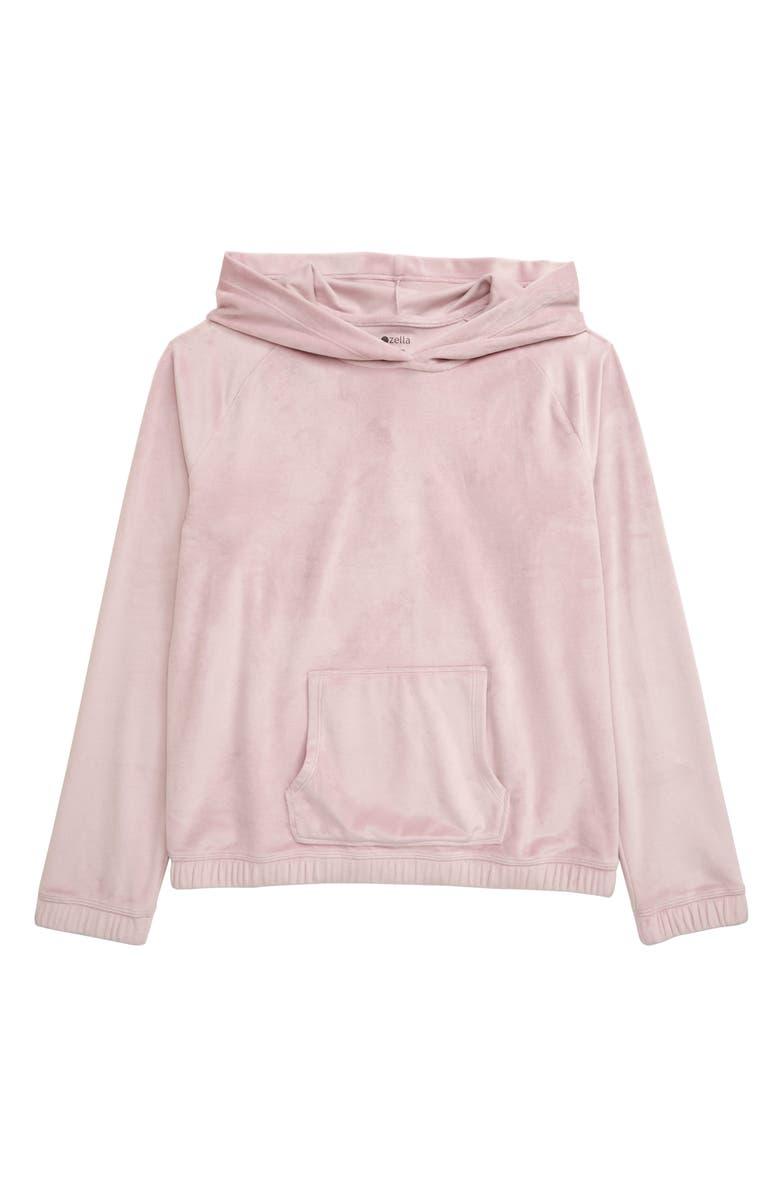 ZELLA GIRL Plush Velour Hooded Pullover, Main, color, PURPLE KEEPSAKE