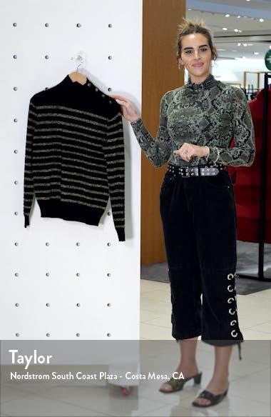 Spruce Metallic Stripe Cashmere Blend Sweater, sales video thumbnail