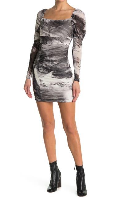 Image of Love, Nickie Lew Tie Dye Long Sleeve Puffed Shoulder Mini Dress