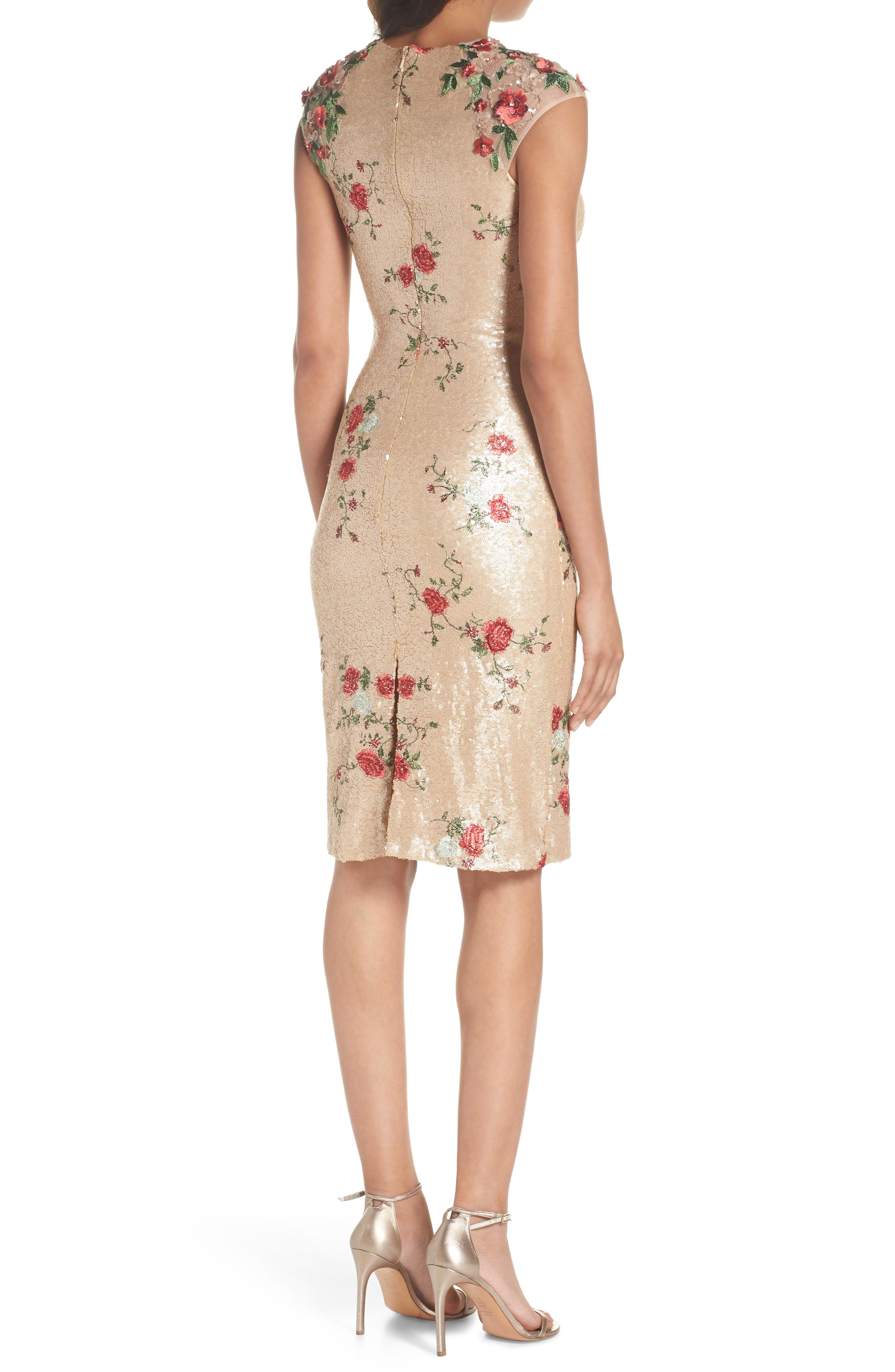 ,                             Sequin & Embroidery Sheath Dress,                             Alternate thumbnail 2, color,                             CHAMPAGNE ROSE