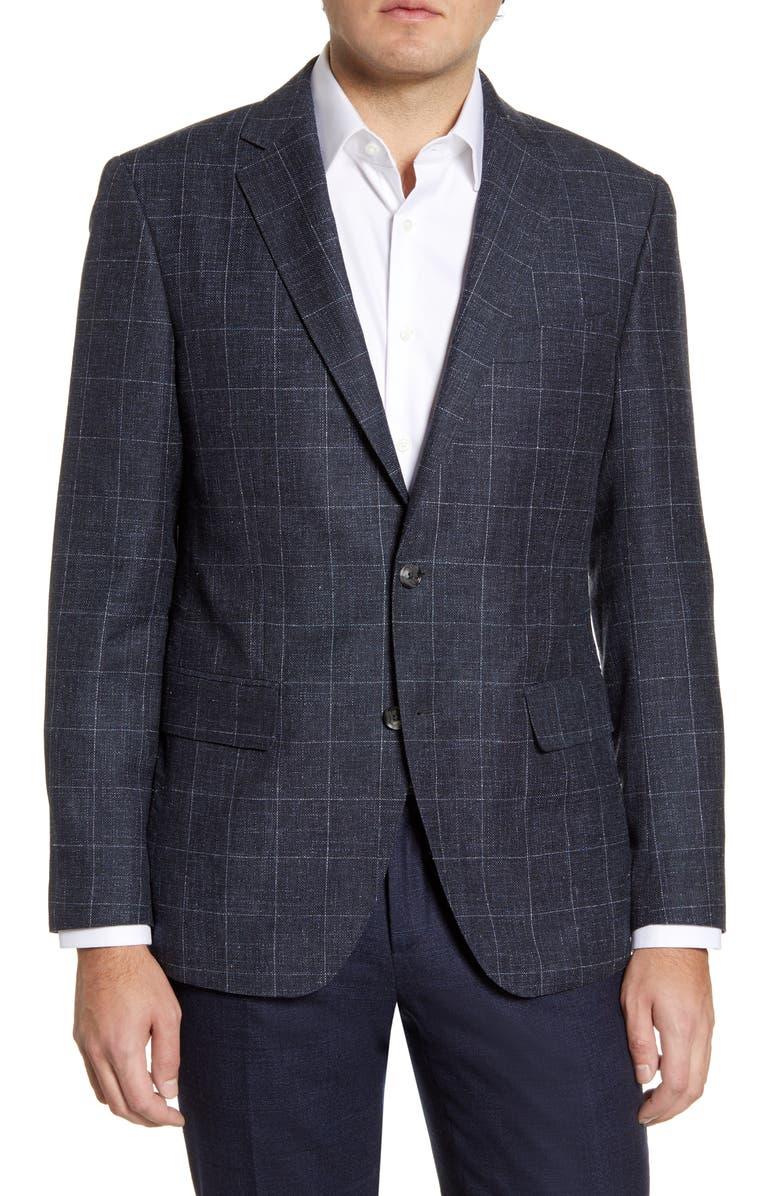 RODD & GUNN Portland Spray Classic Fit Windowpane Wool Blend Sport Coat, Main, color, BLUESTONE