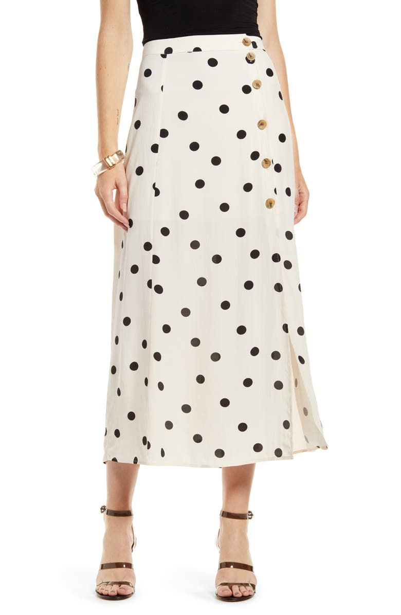 SOMETHING NAVY High Waist Midi Skirt, Main, color, BEIGE ECRU DOT
