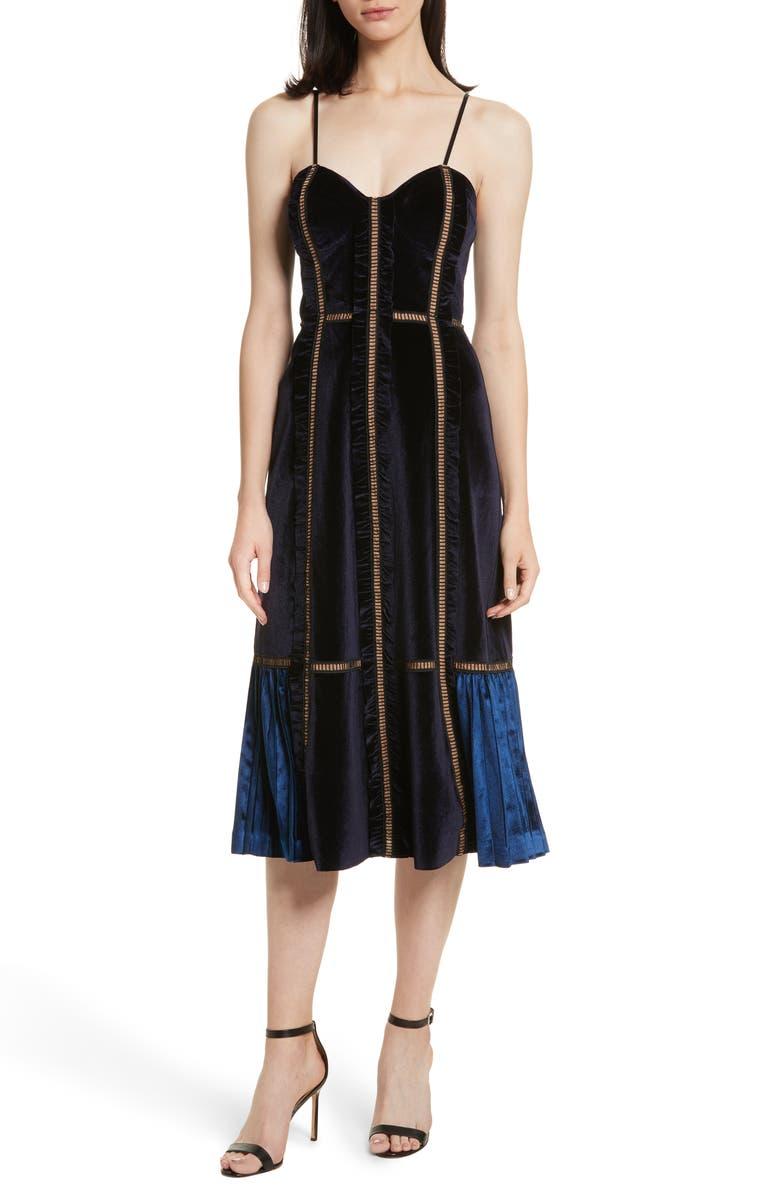 SELF-PORTRAIT Paneled Velvet Midi Dress, Main, color, 400