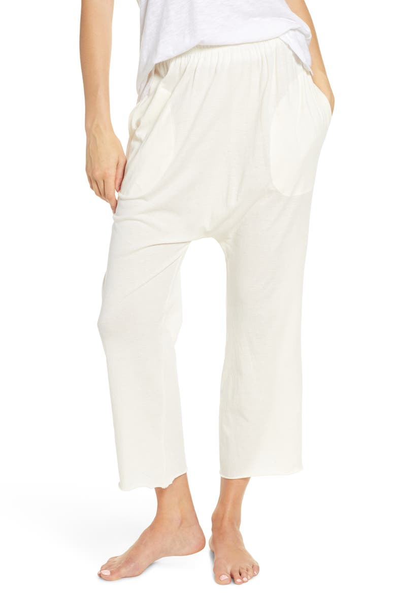 THE GREAT. The Lounge Cotton Crop Pants, Main, color, WASHED WHITE