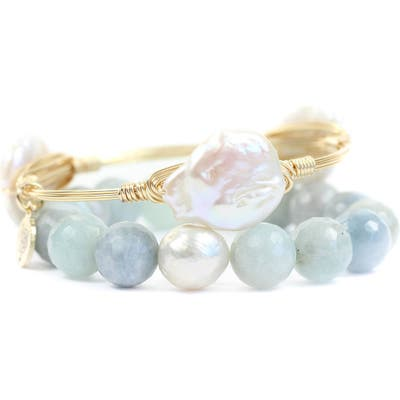 Bourbon And Boweties Agate & Cultured Pearl Bangle & Stretch Bracelet Set