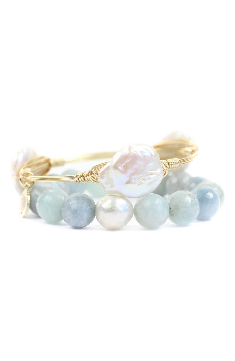 BOURBON AND BOWETIES Agate & Cultured Pearl Bangle & Stretch Bracelet Set, Main, color, 400