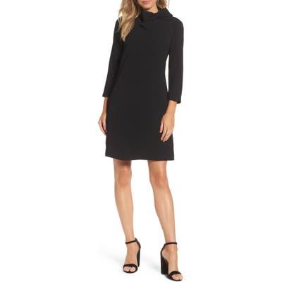 Eliza J Bow Neck Crepe Shift Dress, Black