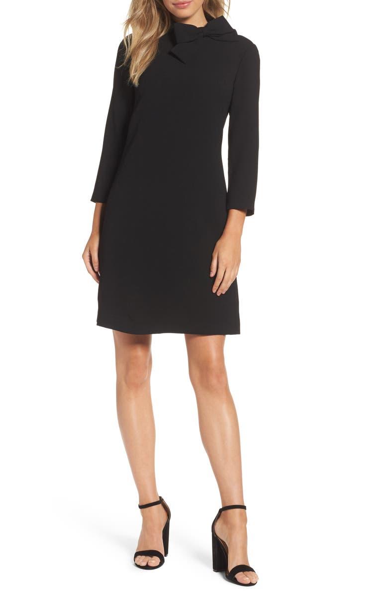 ELIZA J Bow Neck Crepe Shift Dress, Main, color, BLACK