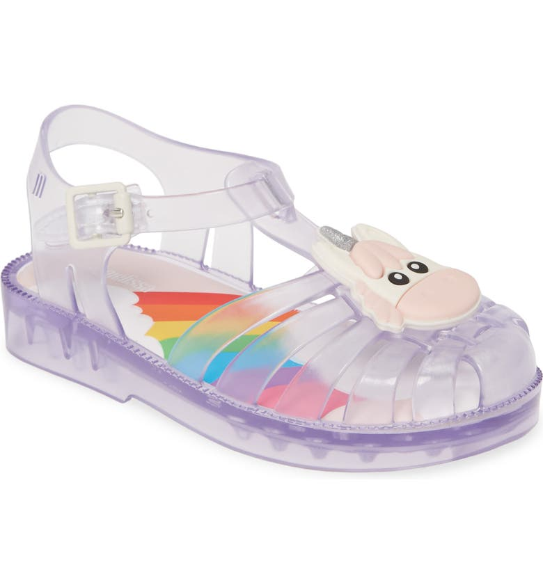 MINI MELISSA Possession Unicorn Glitter Sandal, Main, color, CLEAR