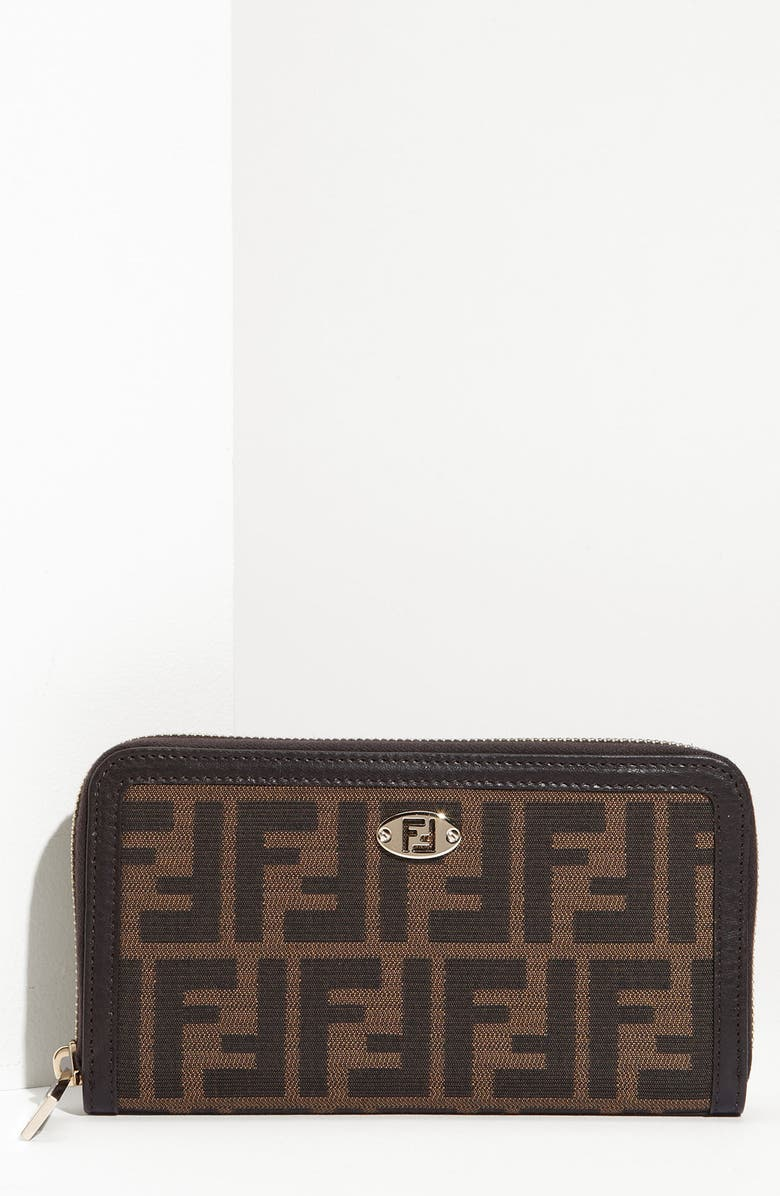 FENDI 'Zucca' Zip Around Wallet, Main, color, 240