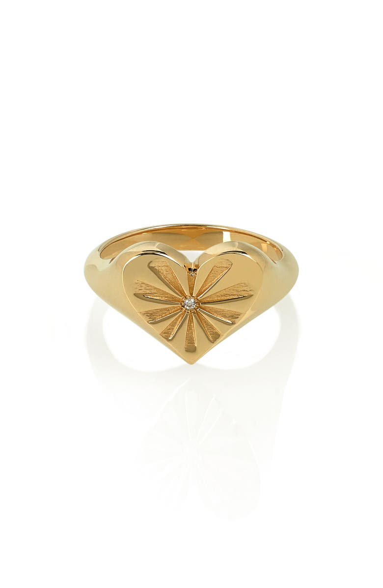 MARLO LAZ Heart Pinky Ring, Main, color, YELLOW GOLD