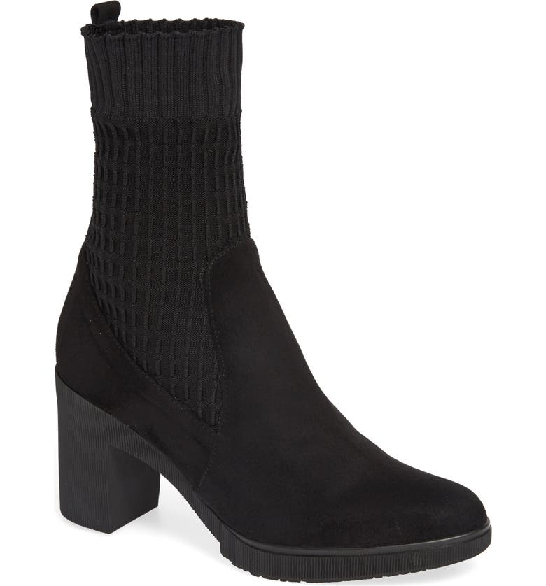 WONDERS Heeled Knit Bootie, Main, color, BLACK SUEDE