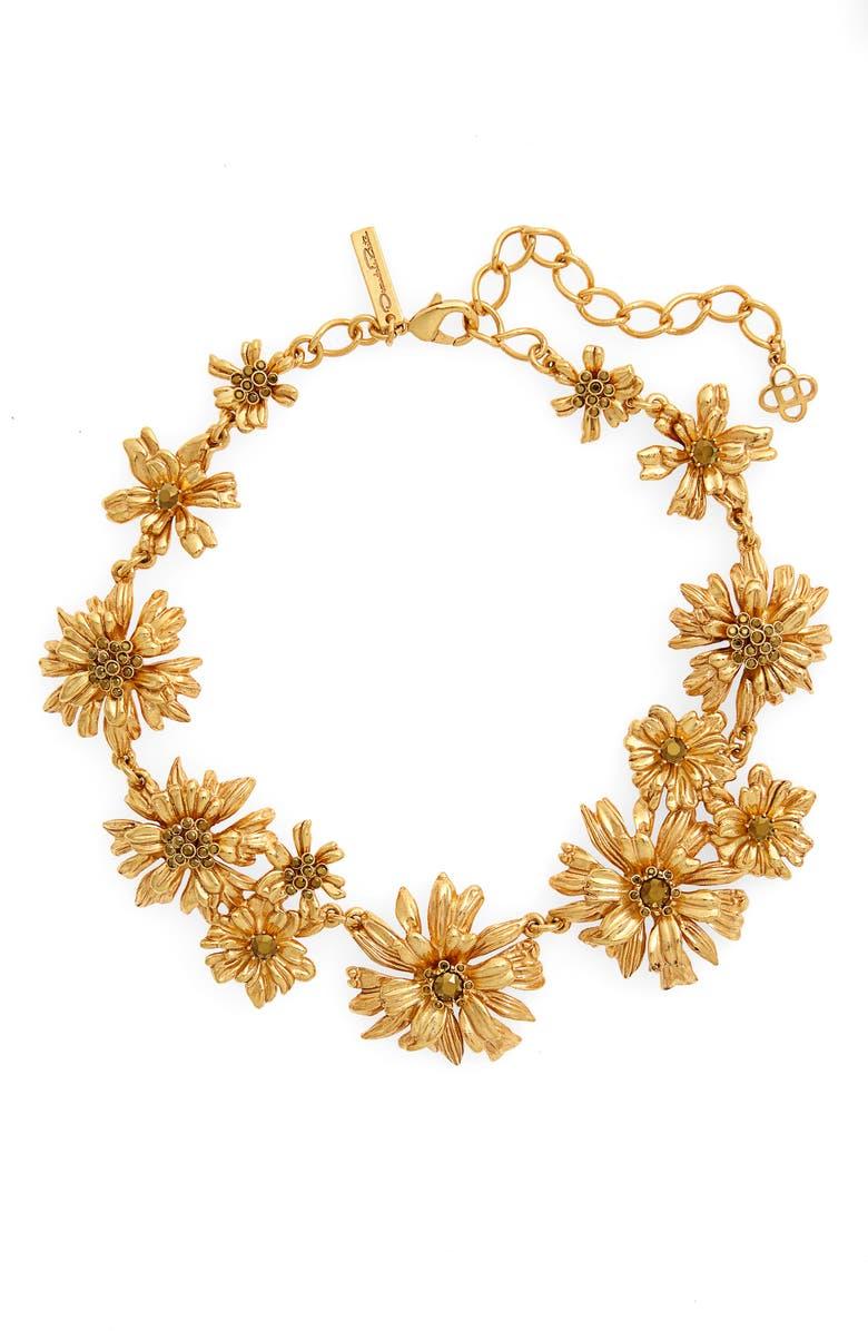 OSCAR DE LA RENTA Crystal Flower Collar Necklace, Main, color, GOLD