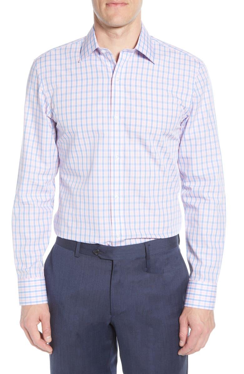 BONOBOS Slim Fit Plaid Dress Shirt, Main, color, PINK PLUMERIA