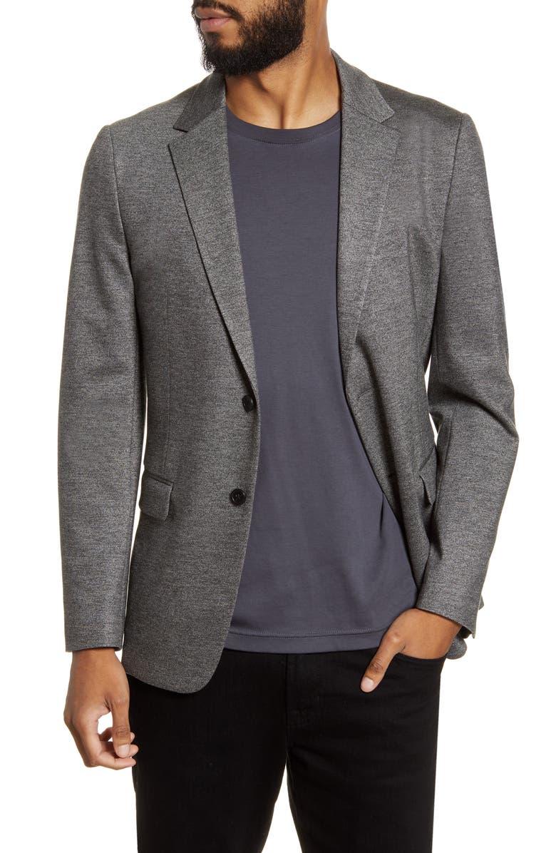 THEORY Clinton Marled Ponte Sport Coat, Main, color, BLACK MELANGE