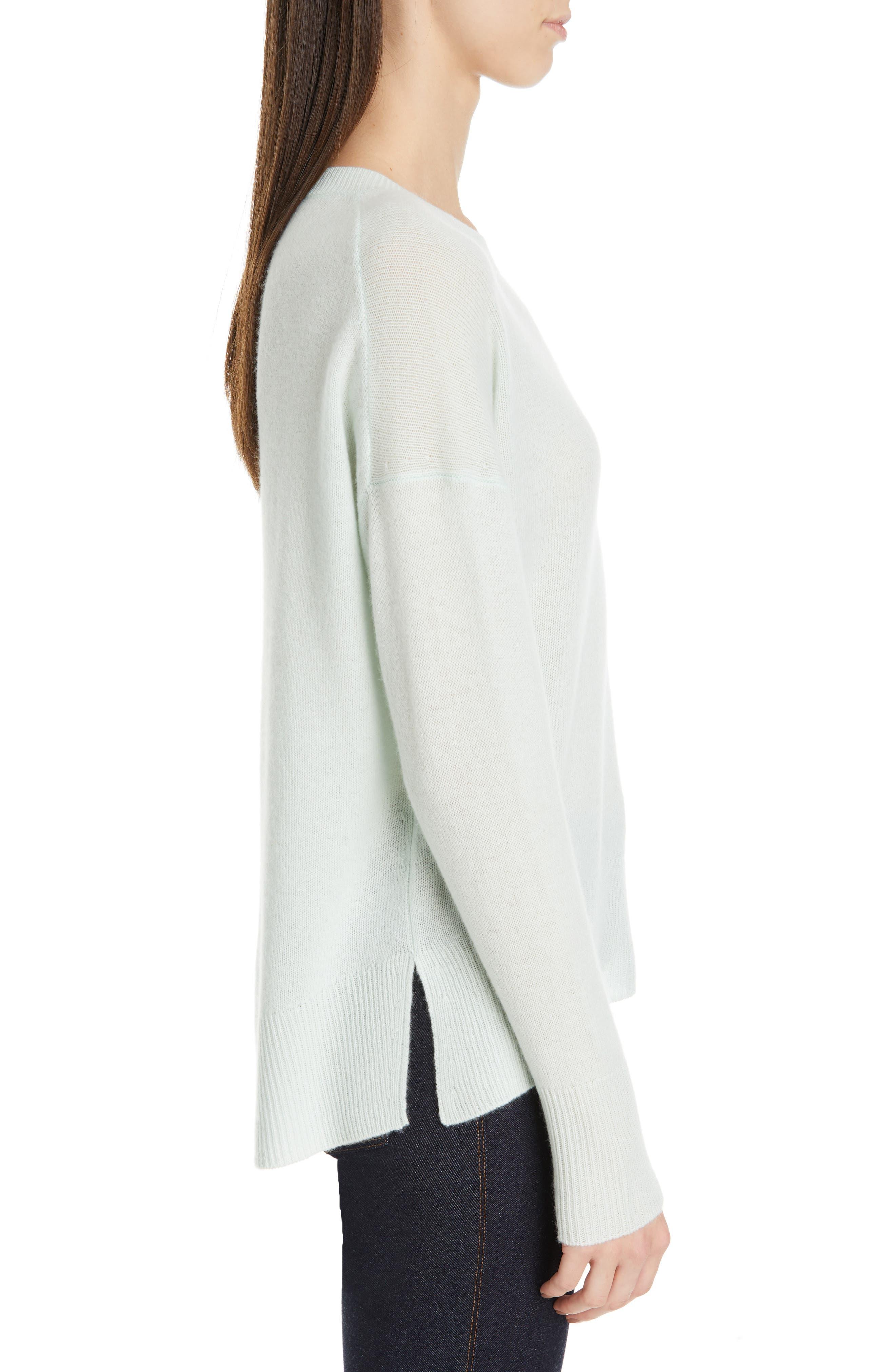 ,                             Karenia Long Sleeve Cashmere Sweater,                             Alternate thumbnail 3, color,                             OPAL GREEN