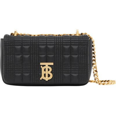 Burberry Mini Lola Quilted Check Leather Bag - Black