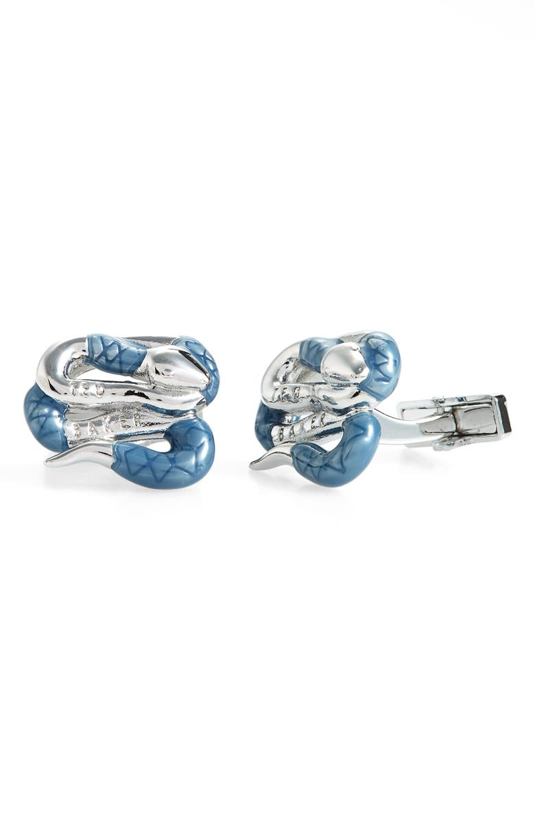 TED BAKER LONDON Mester Snake Cuff Links, Main, color, SILVER COL