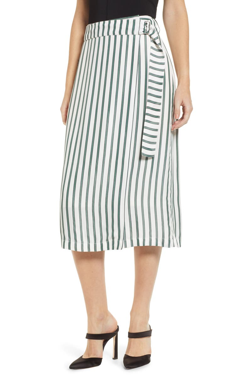 CHELSEA28 Stripe Wrap Skirt, Main, color, 900