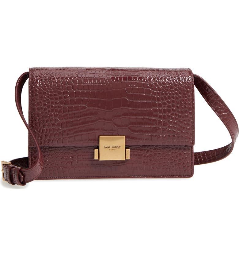 SAINT LAURENT Medium Bellechasse Croc Embossed Leather Shoulder Bag, Main, color, ROUGE LEGION