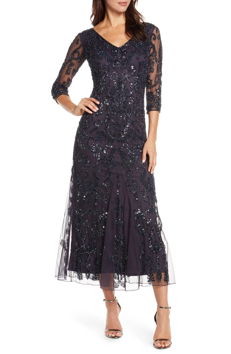 PISARRO NIGHTS Beaded Maxi Dress, Main, color, EGGPLANT
