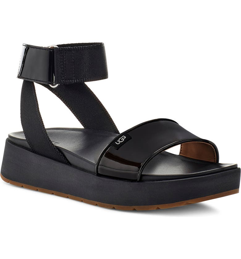 UGG<SUP>®</SUP> Lennox Platform Sandal, Main, color, BLACK FABRIC/ PATENT