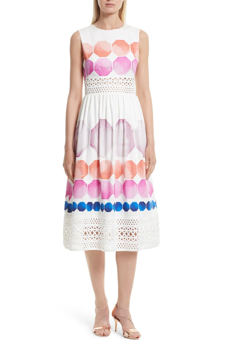 TED BAKER LONDON Serinah Stretch Cotton Midi Dress, Main, color, 110