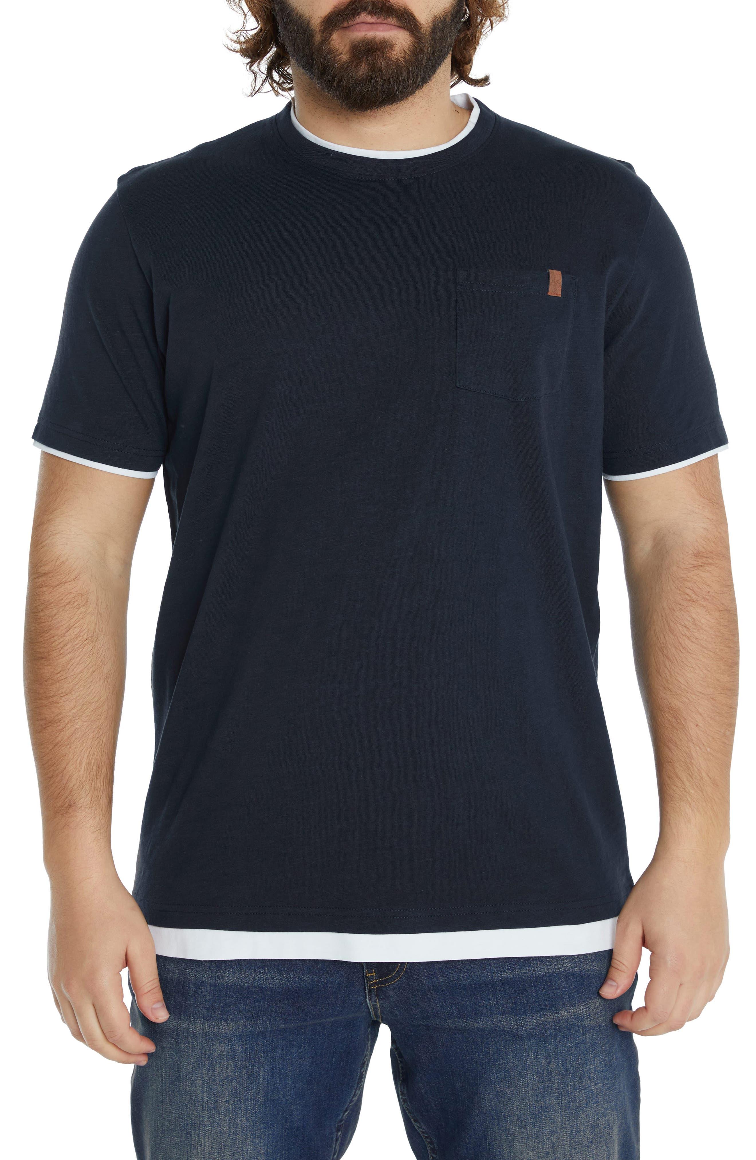Layered Look Cotton Pocket T-Shirt