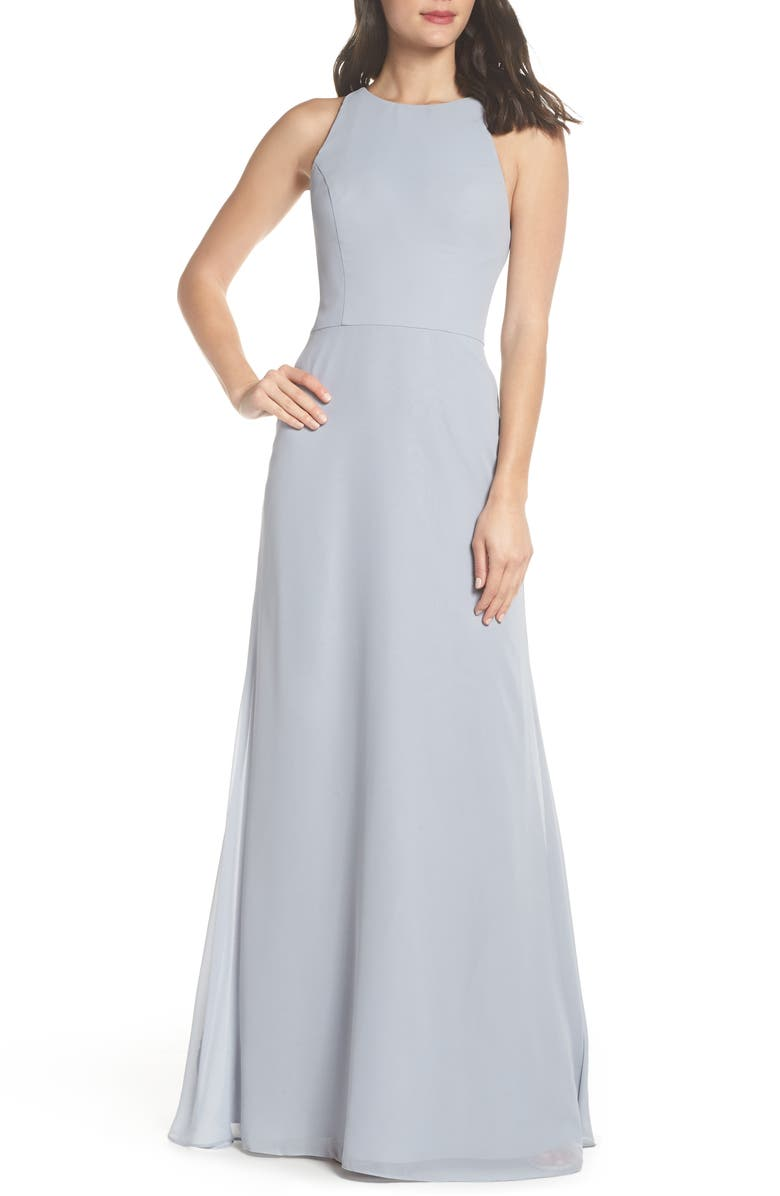 HAYLEY PAIGE OCCASIONS Crewneck Chiffon Gown, Main, color, 045