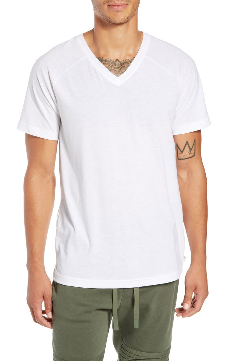 ALO Triumph Raglan V-Neck T-Shirt, Main, color, WHITE