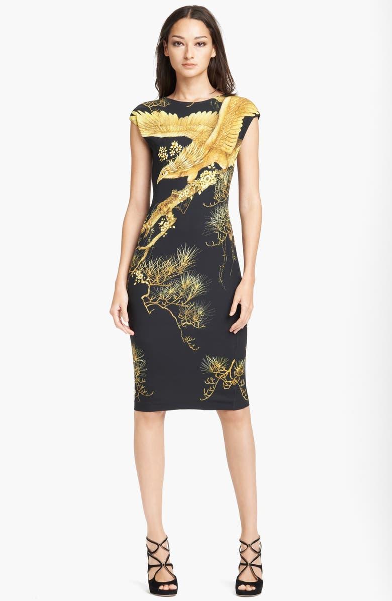 ROBERTO CAVALLI 'Chimera Print' Cady Dress, Main, color, BLACK/ GOLD