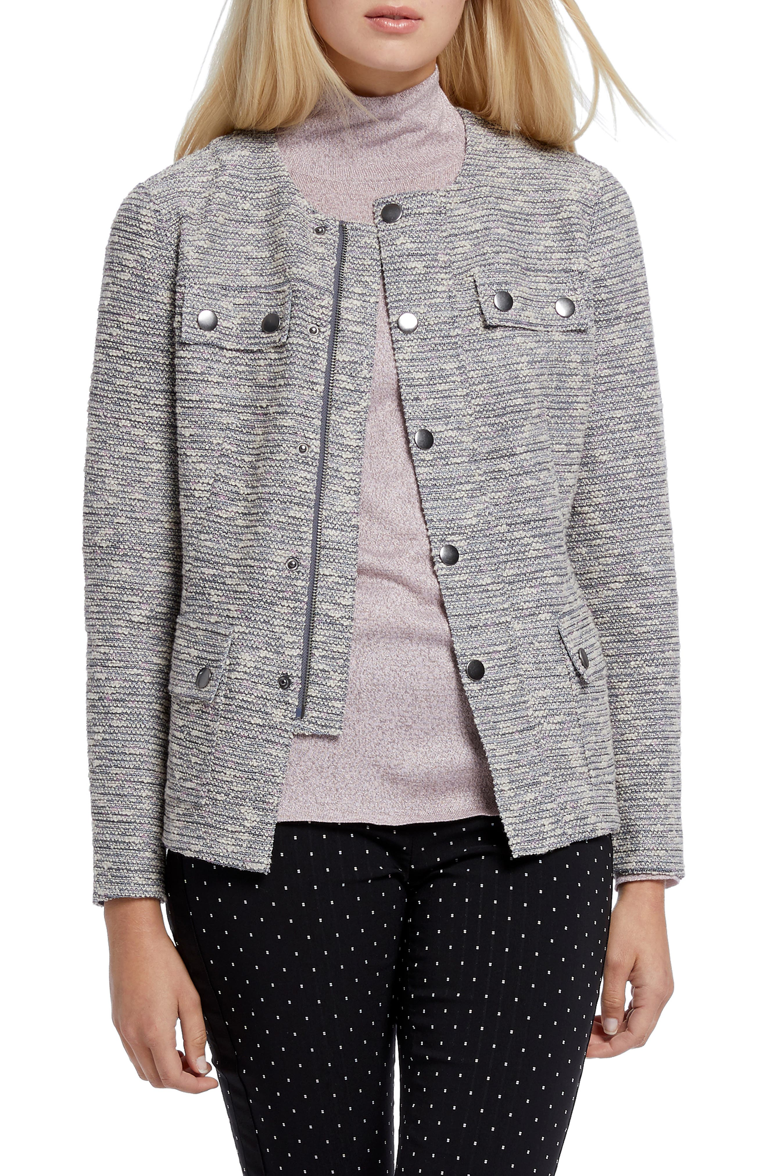 Nic+zoe Coats The Ritz Metallic Thread Cotton Blend Jacket