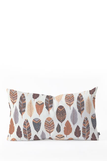 Image of Deny Designs Avenie Boho Feathers Earth Tones Oblong Throw Pillow