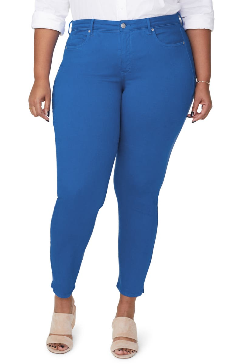 NYDJ Alina High Waist Side Slit Ankle Skinny Jeans, Main, color, BLUE HARBOUR