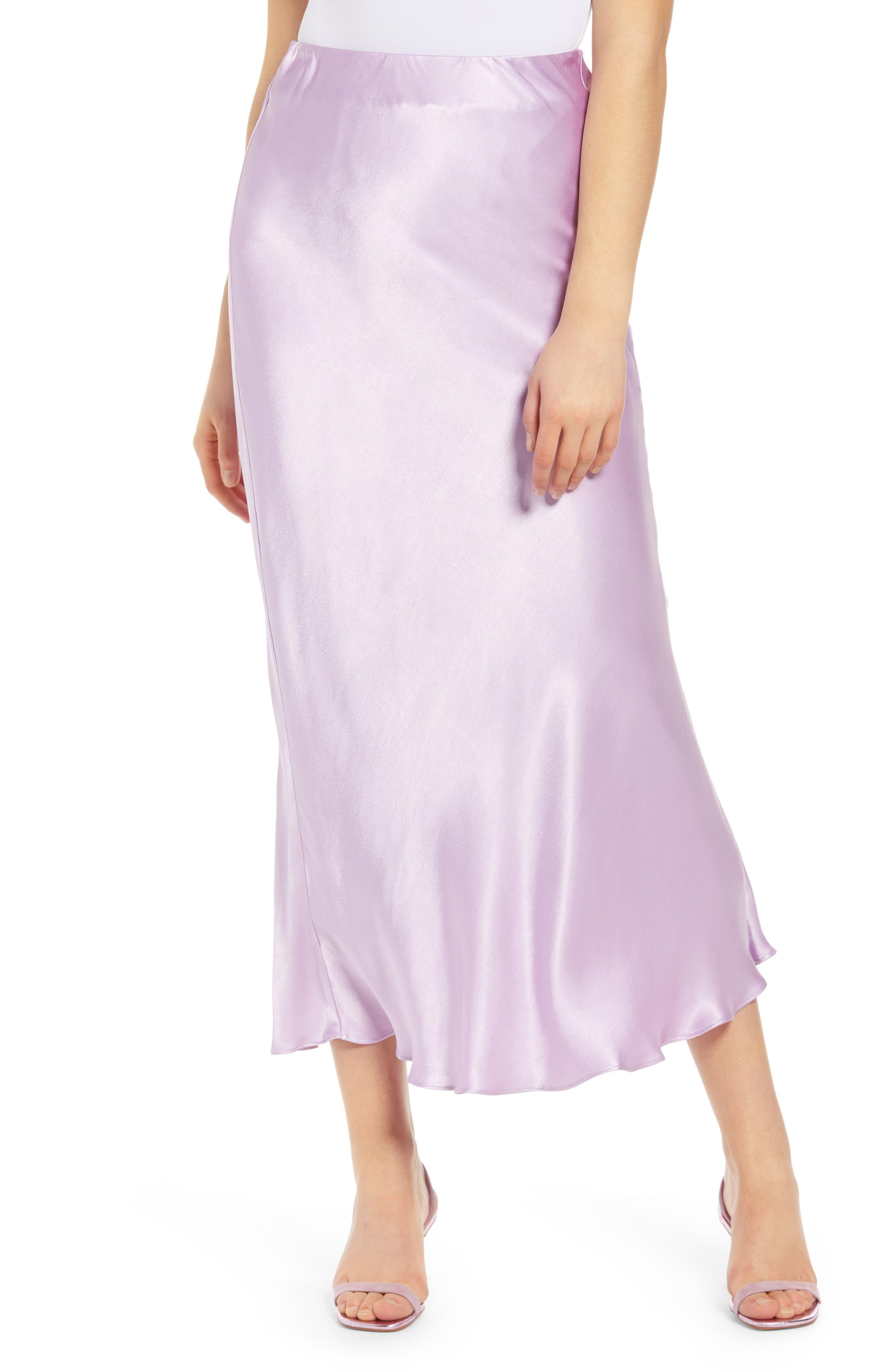1930s Style Skirts : Midi Skirts, Tea Length, Pleated Womens Grey Lab Bias Cut Satin Skirt Size Small - Purple $80.00 AT vintagedancer.com