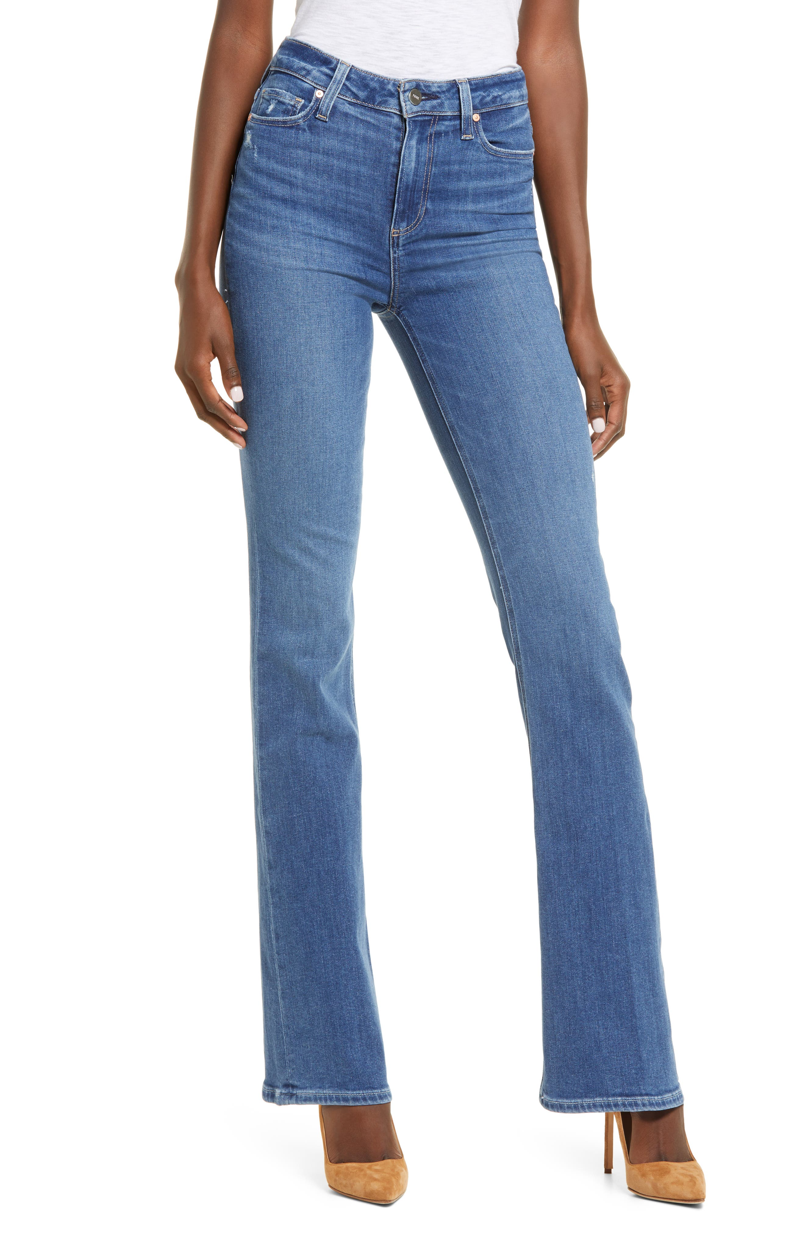 PAIGE Transcend Laurel Canyon High Waist Flare Jeans (On the Rocks Distressed) | Nordstrom