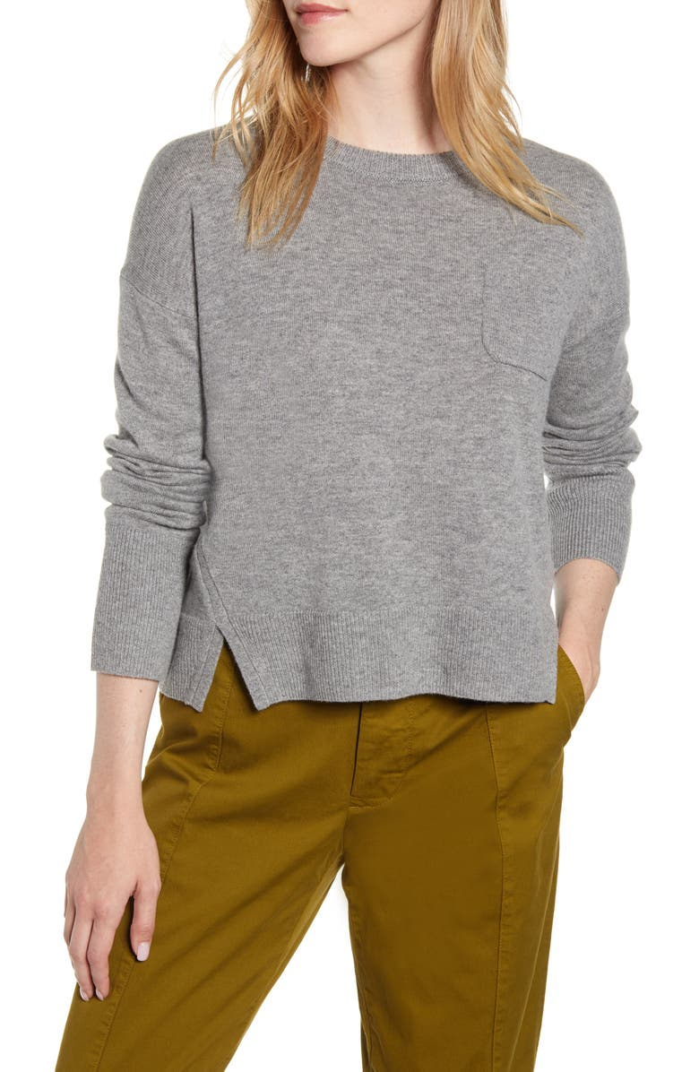 ALEX MILL Crop Merino Wool & Cotton Sweater, Main, color, HEATHER GRAY