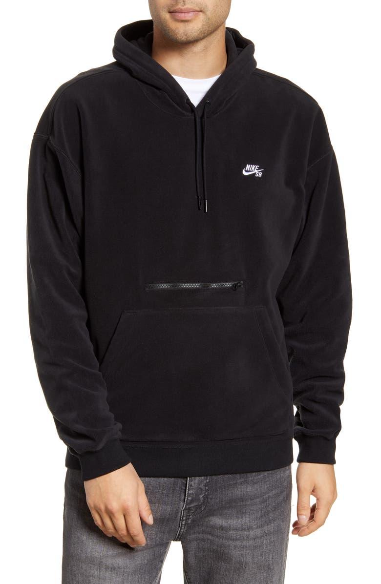 NIKE SB Fleece Hoodie, Main, color, BLACK/ WHITE