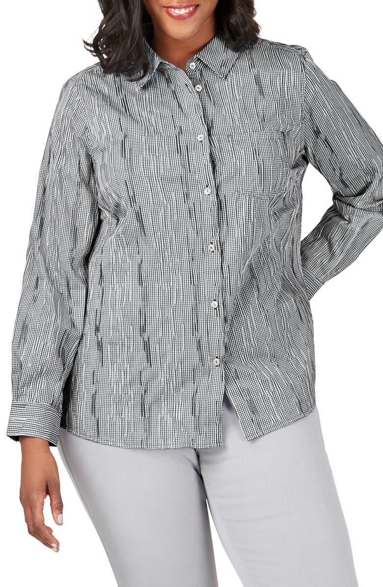 FOXCROFT The Hampton Crinkle Minicheck Shirt, Main, color, BLACK