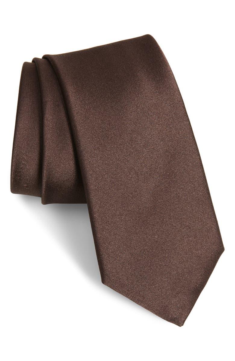 CANALI Solid Silk Tie, Main, color, 200