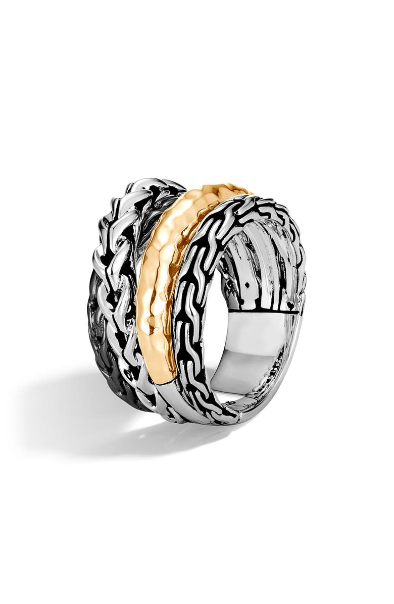 JOHN HARDY Asli Two Tone Crossover Ring, Main, color, SILVER/ GOLD