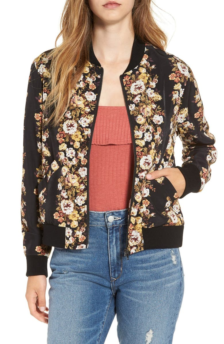 WAYF Floral Print Bomber Jacket, Main, color, 001