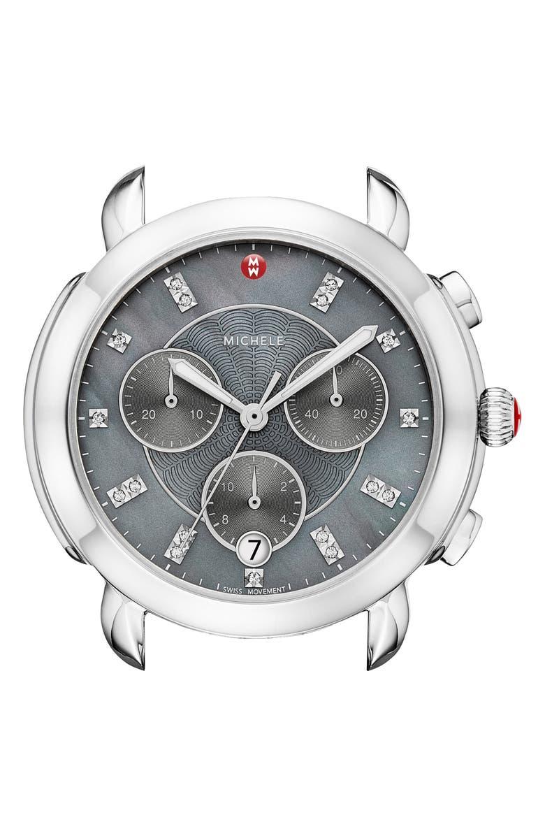 MICHELE Sidney Chronograph Diamond Watch Head, 38mm, Main, color, SILVER/ GREY MOP/ SILVER