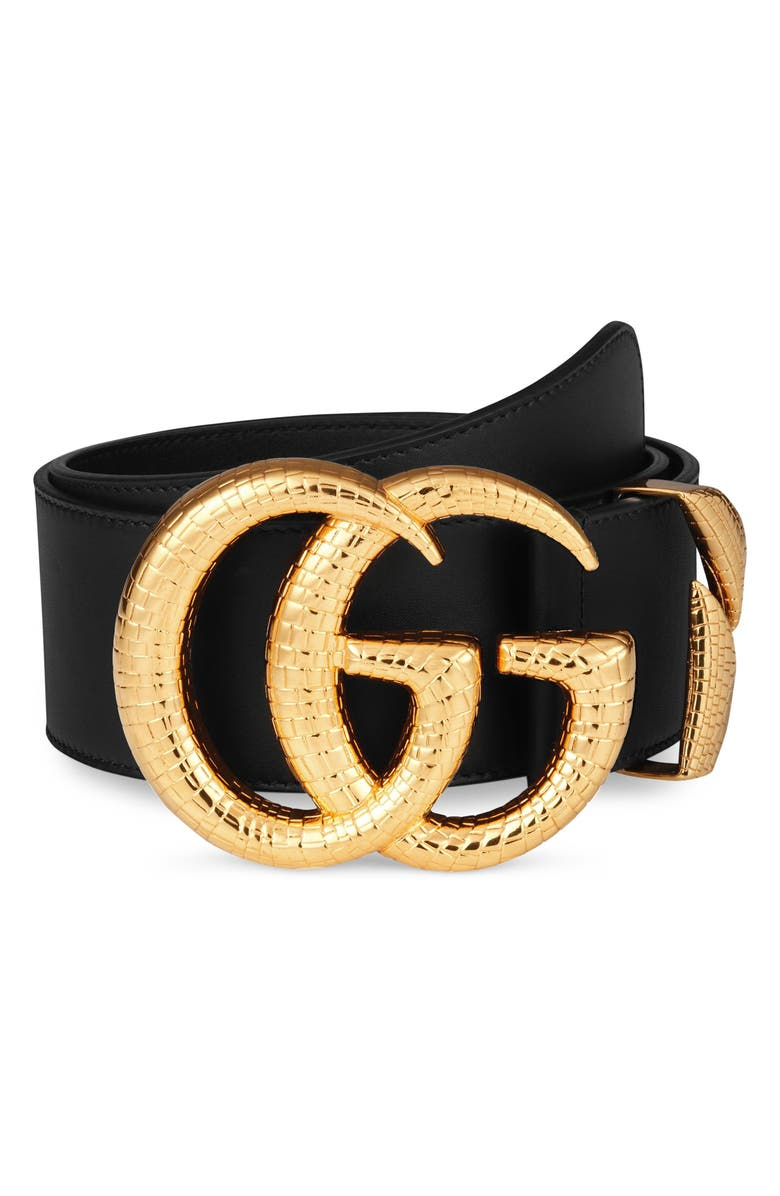 GUCCI GG Marmont Lizard Buckle Leather Belt, Main, color, 001