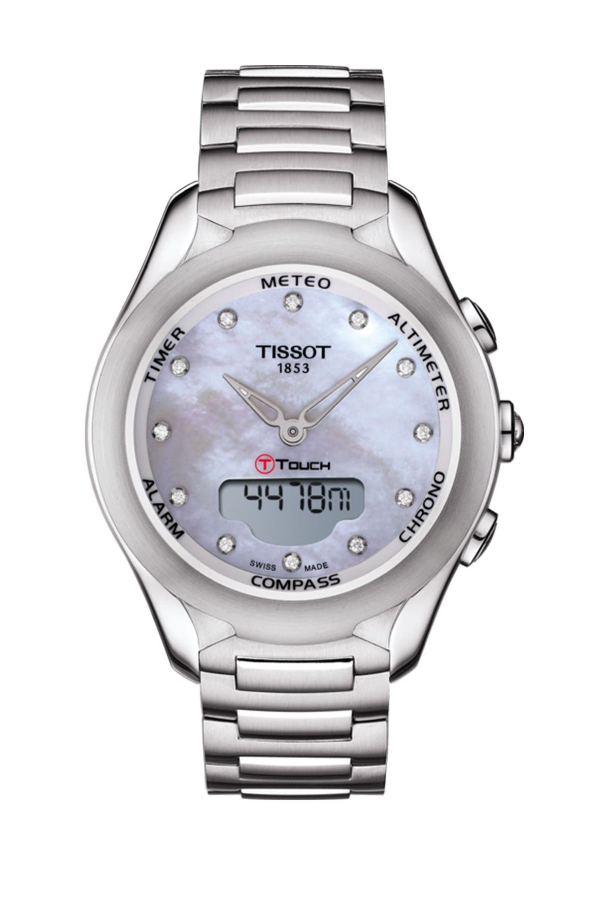 Image of Tissot Women's T-Touch Solar Diamond Accent Stainless Steel Bracelet Watch, 38mm - 0.10 ctw