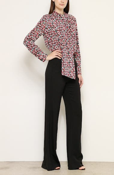 Speckled Print Stretch Crepe Blouse, video thumbnail